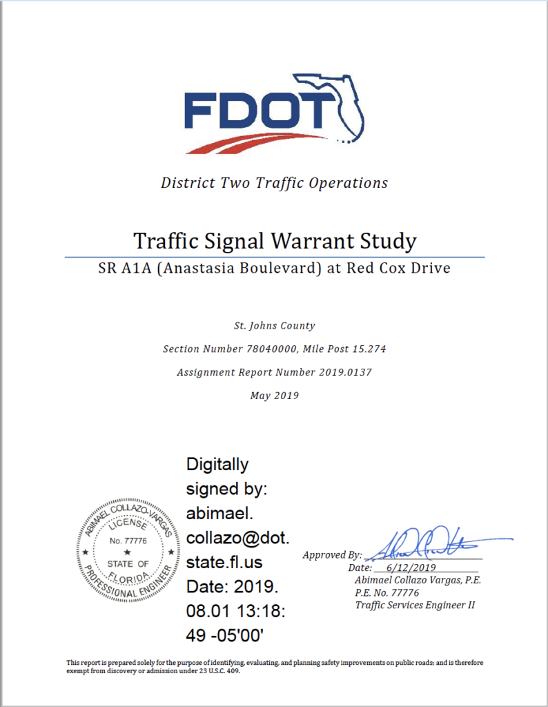 Cover of Traffic Signal Warrant Study